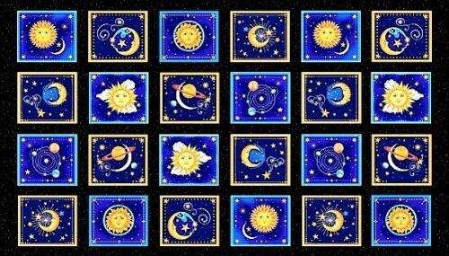Starlight panel patchwork sustancias sustancias estrellas cielo patchwork cielo Sol Luna