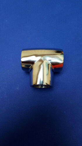 """90 Degree 1/"""" 25mm Stainless Steel 316 Marine Boat Tee Rail Pulpit Connector T"""