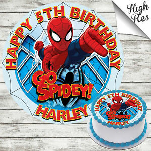 Image Is Loading SPIDERMAN EDIBLE ROUND BIRTHDAY CAKE TOPPER DECORATION PERSONALISED