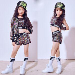 33bccbeffa05 Girls Sequined Ballroom Modern Hip Hop Jazz Costumes Kid Performance ...