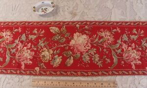 """Antique c1870 French Hand Blocked Turkey Red Rose Border Fabric~L-36""""X W-9"""""""