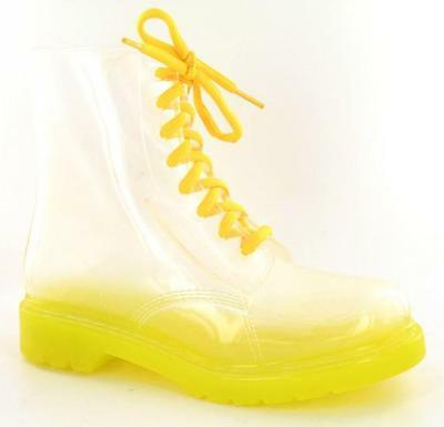 LADIES YELLOW TRANSPARENT PLASTIC  BOOTS- F50087