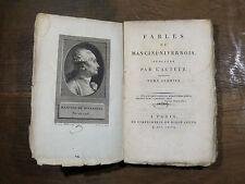 FABLES DE MANCINI-NIVERNOIS Tome 1er 1796 DIDOT JEUNE Portrait en frontispice