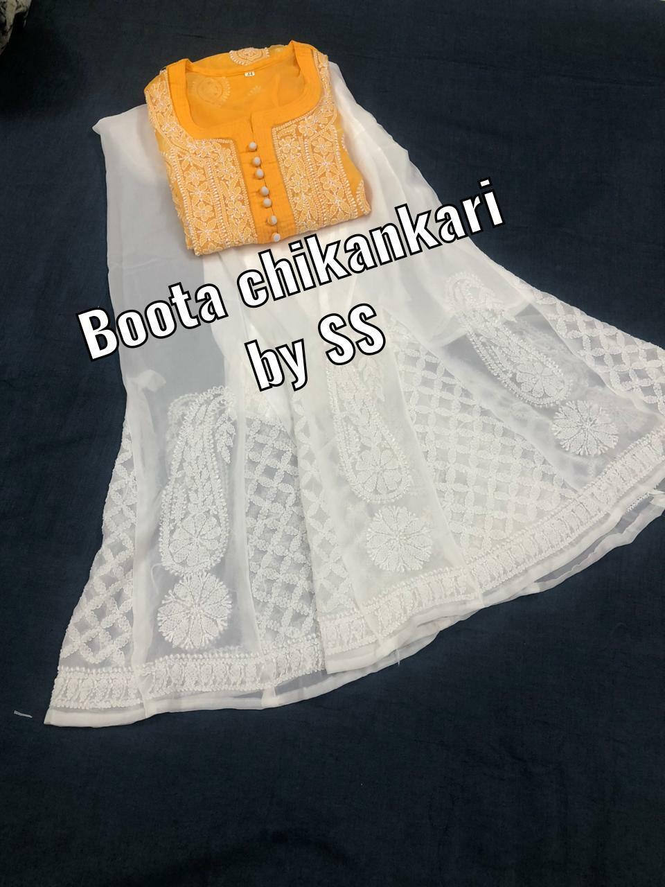Beautiful Pure georgette fabric hand crafted chikan boota work kurtis stitched