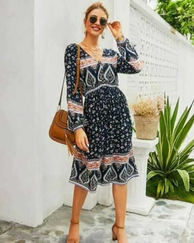 Floral Evening Casual Dresses Cocktail Long Sleeve Boho Loose Dress Maxi Party