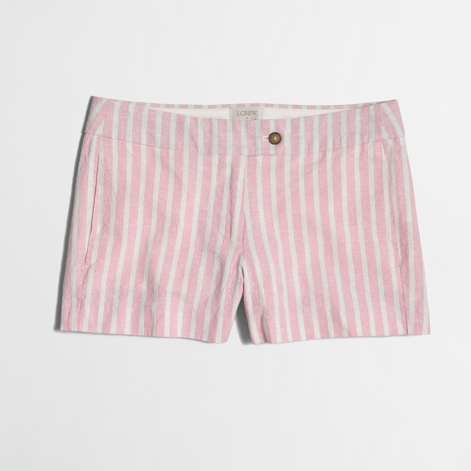 J.CREW Ladies 3  Cotton Linen Pink & White Stripe Short  Size 6  New with Tag