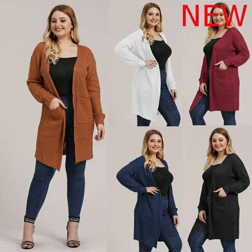 Casual Knitted Outwear Sweater Womens Oversized Jacket Cardigan Plus Size Loosep