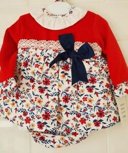 Spanish-Baby-Girl-Red-Floral-Frill-Collar-Dress-Pants-and-Bonnet-Set
