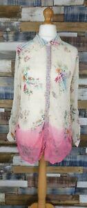 Monsoon-Cream-Pink-Long-Sleeved-Floral-Ladies-Blouse-Top-Size-UK-12