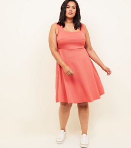 choose newest discount sale look good shoes sale Details about New Look Curves Coral Square Neck Sleeveless Skater Dress  BNWT Size UK 22
