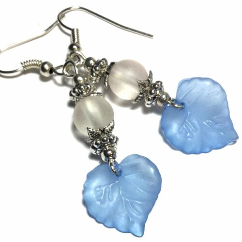 Blue Leaf Earrings White Bead Clip On Hook or 925 Silver Choice of Stud