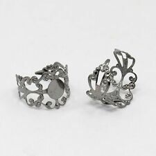 5pcs Adjustable Filigree Brass Ring Base Pad Blanks DIY Jewelry Findings Making