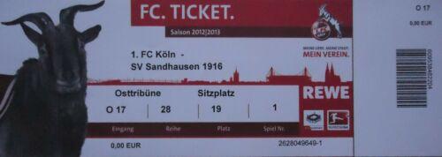 TICKET 2 BL 2012//13 1 FC Köln SV Sandhausen