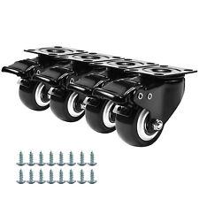 4 Pcs Universal Caster Wheels Heavy Duty With Brake Swivel Top Plate 2 Inch