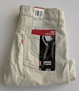 Levis 519 Para Mujer Juniors Baja Altura Flare Slim Fit Pantalones De Pana 0277 Ebay