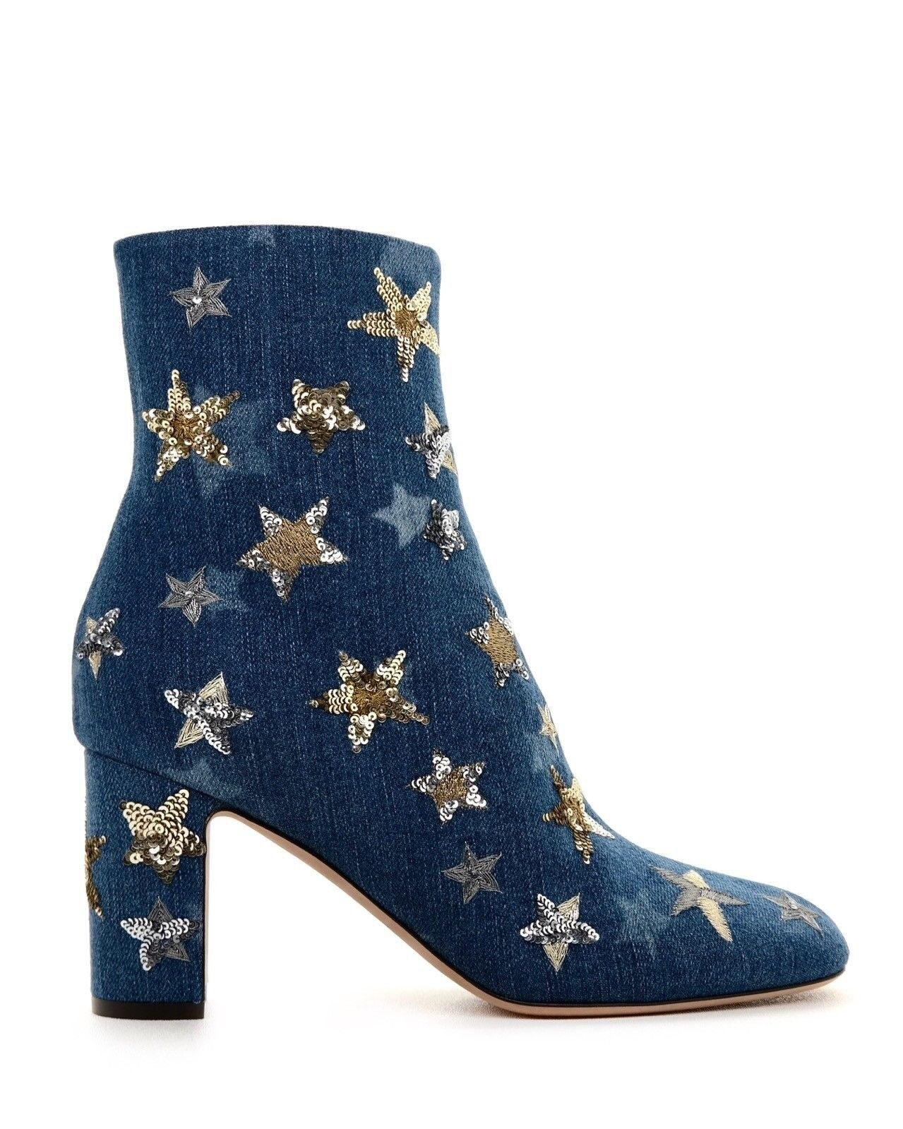 Valentino Boots Sequined Star Embellished Blue Denim Size 8 NIB