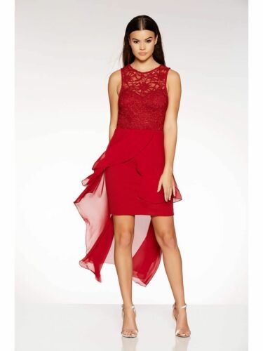 New QUIZ Red Berry Dip Hem Dress Evening Party 6-18