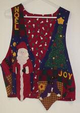 "Santa Tree Noel Handmade Ladies Womens Vest XL Extra Large Holiday 18"" Across"