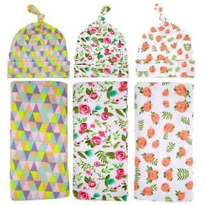 Newborn Baby Kids Cocoon Swaddle Wrap Towels Blanket + Hat Photography Props Set