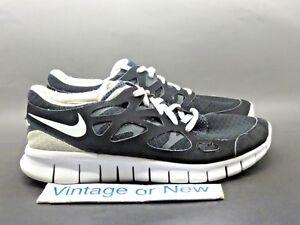 Women s Nike Free Run+ 2 Black White Anthracite Running Shoes 443816 ... 10db594ec