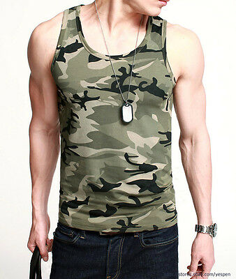Mens Tank Top Camouflage Military Tee GYM Sports Athletic A-Shirt Lycra Fitted