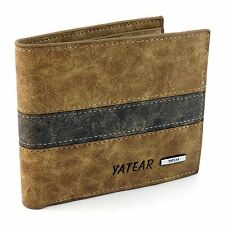 Mens Luxury Soft Quality Leather Wallet Credit Card Holder Purse Brown ID Window