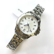 NEW $395 LADIES WENGER GST 79112 WHITE MOP & CRYSTAL DIAL 34MM SS 100M WR WATCH