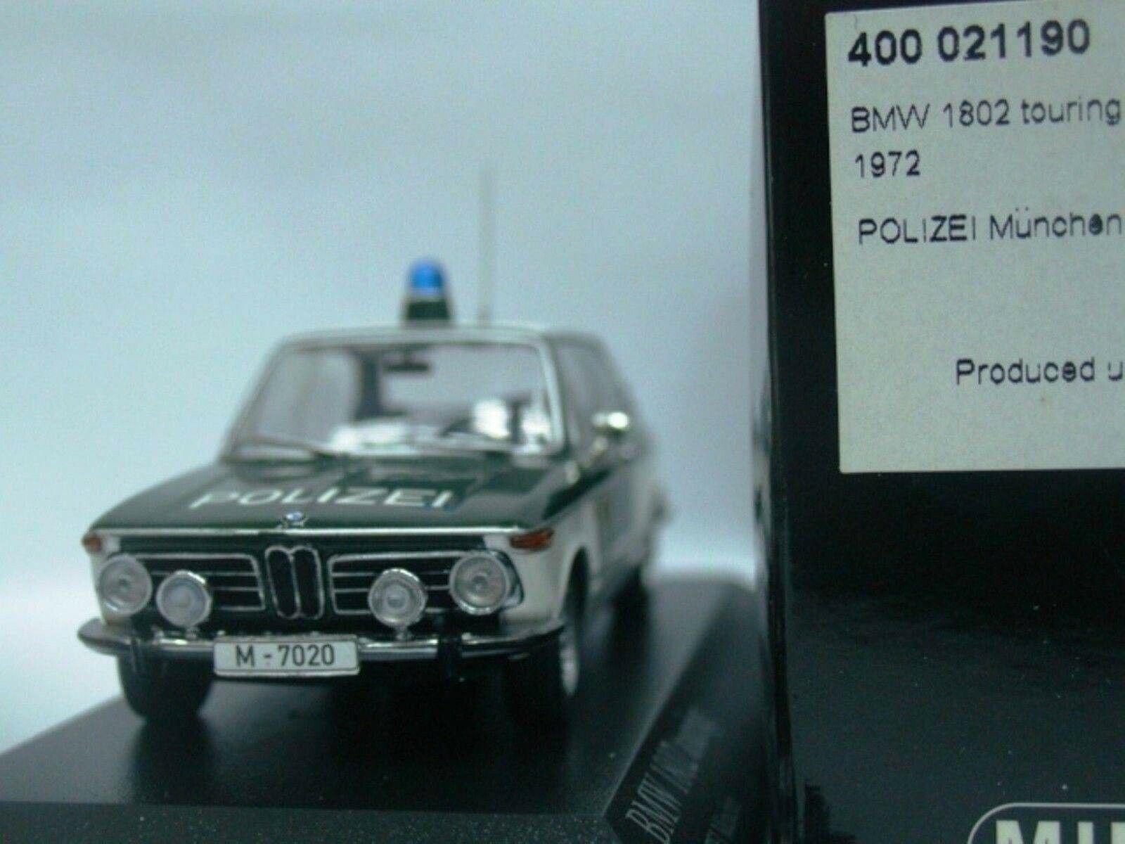 Wow extremadonnate raro BMW 1802 Touring E6 1972 Polizei Police 1 43 Minichamps - 635
