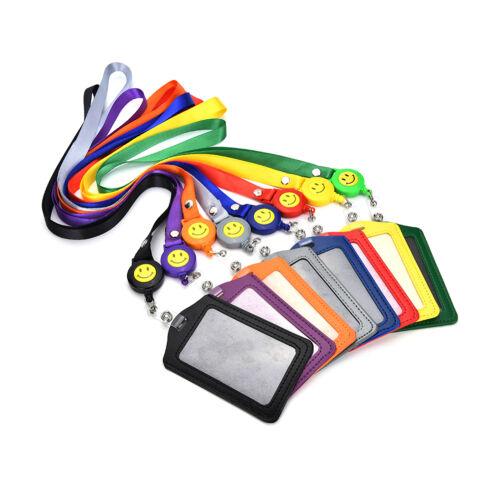 ID Name Card Holder Badge Retractable Reel Recoil ID Badge Lanyard Belt Clip Eu