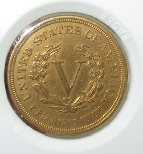 STUNNING-UNC-GOLD-PLATED-1883-US-RACKETEER-NICKEL