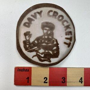 Vtg-Thin-amp-As-Is-Brown-1950s-DAVY-CROCKETT-Patch-Folk-Hero-Frontiersman-TN-61P6