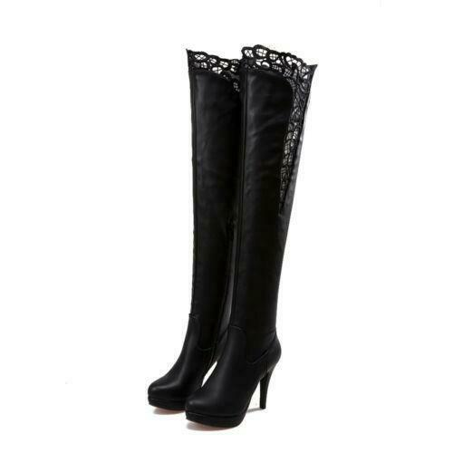 Womens Black Lace Platform High Stiletto Heel Over Knee Thigh Riding Boots Shoes