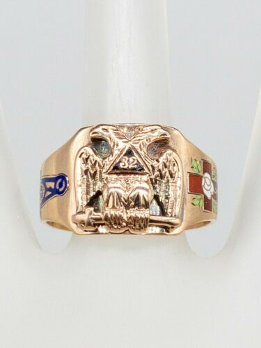 Antique 1900s MASONIC DOUBLE EAGLE Enamel OSTBY &