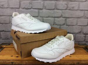 offiziell schöne Schuhe genießen Sie besten Preis Details zu REEBOK LADIES UK 5 EU 37 WHITE LEATHER CLASSIC TRAINERS  HOLOGRAPHIC SILVER BACK