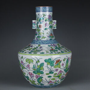 Chinese-Old-Fine-Porcelain-qianlong-marked-doucai-Mandarin-Duck-Lotus-Vase-16-5-034
