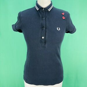 Fred Perry X Amy Winehouse Twin Tipped Love Heart Polo Shirt Size 6 Exc Cond