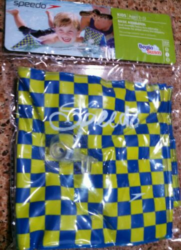 Speedo Swim  green /& blue checkerboard pattern Basic Armbands kids ages 2-12 NEW