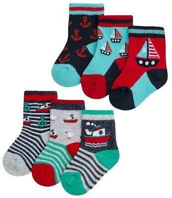 TICK TOCK Baby Boys 3 Pairs Socks Helicopter//Boat Striped Cotton Rich