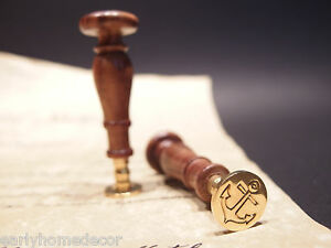 (1) Antique Vintage Style Brass Letter Wax Seal Stamp Nautical Anchor