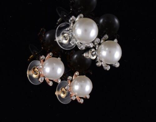 Pequeño de plata u oro Imitación Perla y Diamante Cristal Aretes