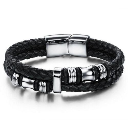 Neu LEDERARMBAND Edelstahl Armband Herren Leder Lederarmband Silber Geschenk de