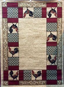 8x10 Chicken Rooster Red Beige Green Cottage Kitchen Lodge
