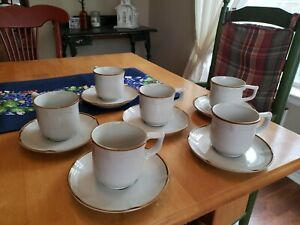 Vintage-Design-Two-Stoneware-1522-Ferndale-Coffee-Cup-And-Saucer-Sets