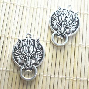 2pcs Tibetan Silver Young wolf Charm Pendant Bead Jewellery Making 40*27mm