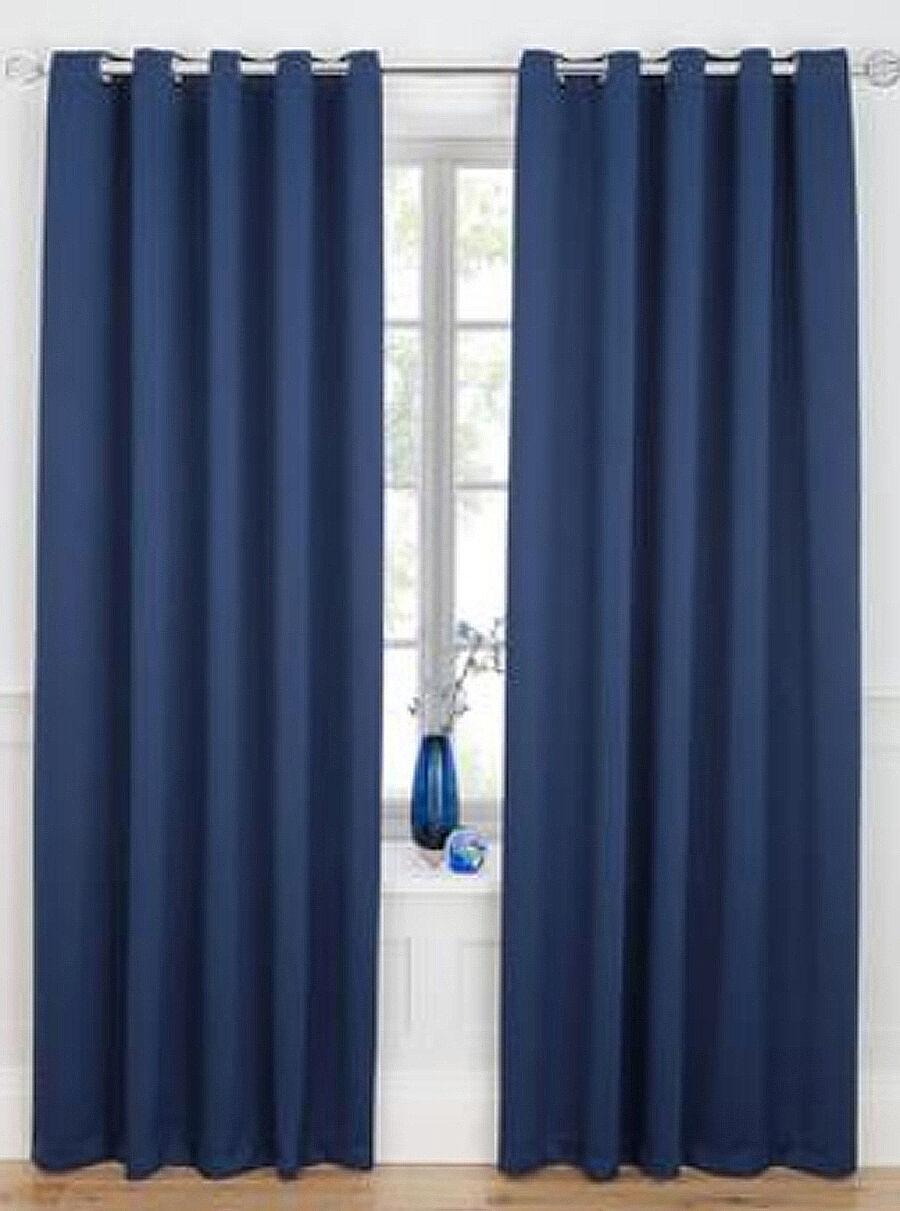 Tejido cortinas Color negro apagón - 75mm Cinta Top & Anillo superior Cortinas-Ready Made