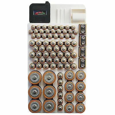 Battery Storage Organizer Holds 82 Batteries Plastic Case Box Removable Tester