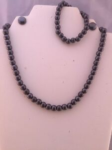 Magnetic Hematite Necklace Bracelet/Earri<wbr/>ng Set Healing Pain Focus Willpower 8mm