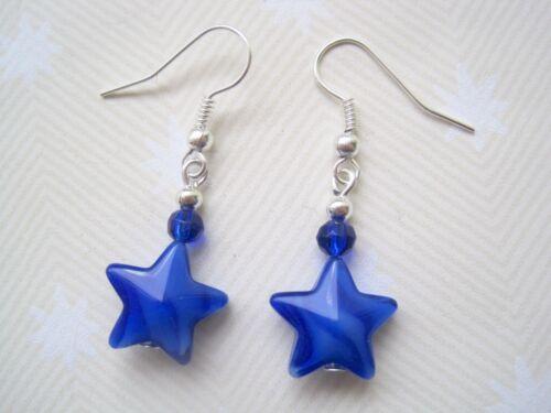 *COBALT BLUE WHITE GLASS STAR BEAD* Silver Plated Drop Earrings Gift Bag