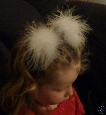 2 2Tone Marabou Feather Hair Bow Puffs Snap Clips Set