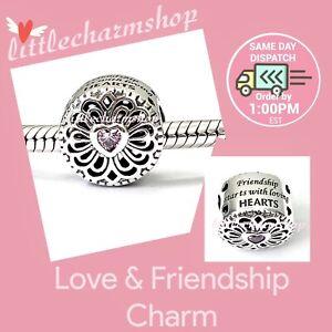 New-Authentic-Genuine-PANDORA-Silver-Love-amp-Friendship-Charm-791955PCZ-RETIRED